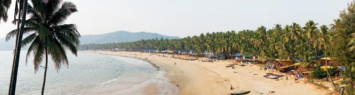 A panoramic shot of Palolem beach in south Goa