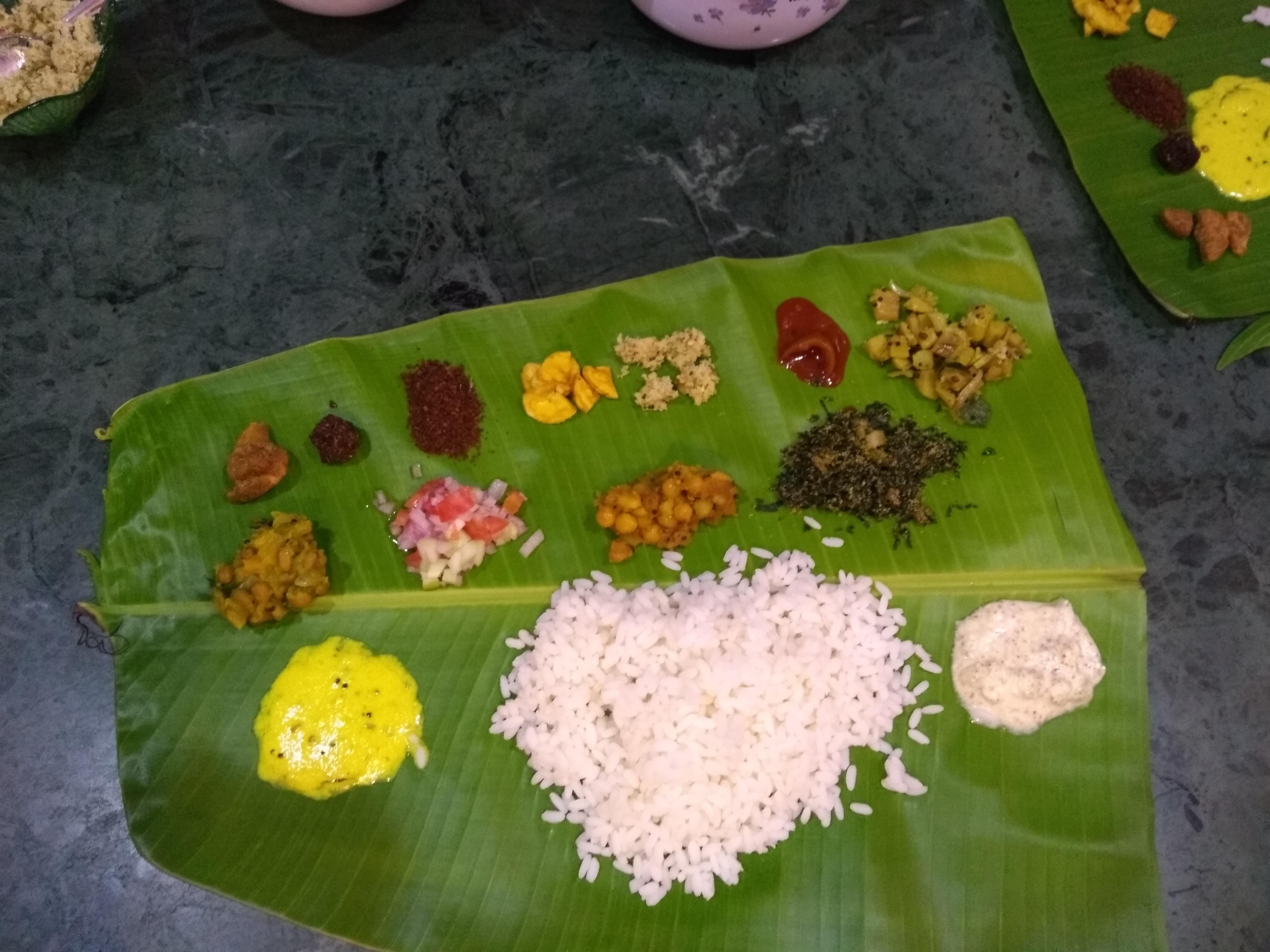 Traditional Keralite fare, but vegetarian