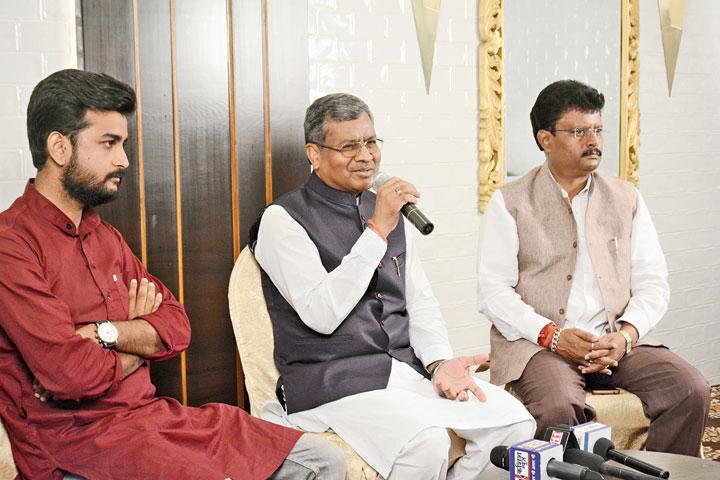 Babulal Marandi addresses the media at a hotel in Sakchi, Jamshedpur, on Monday