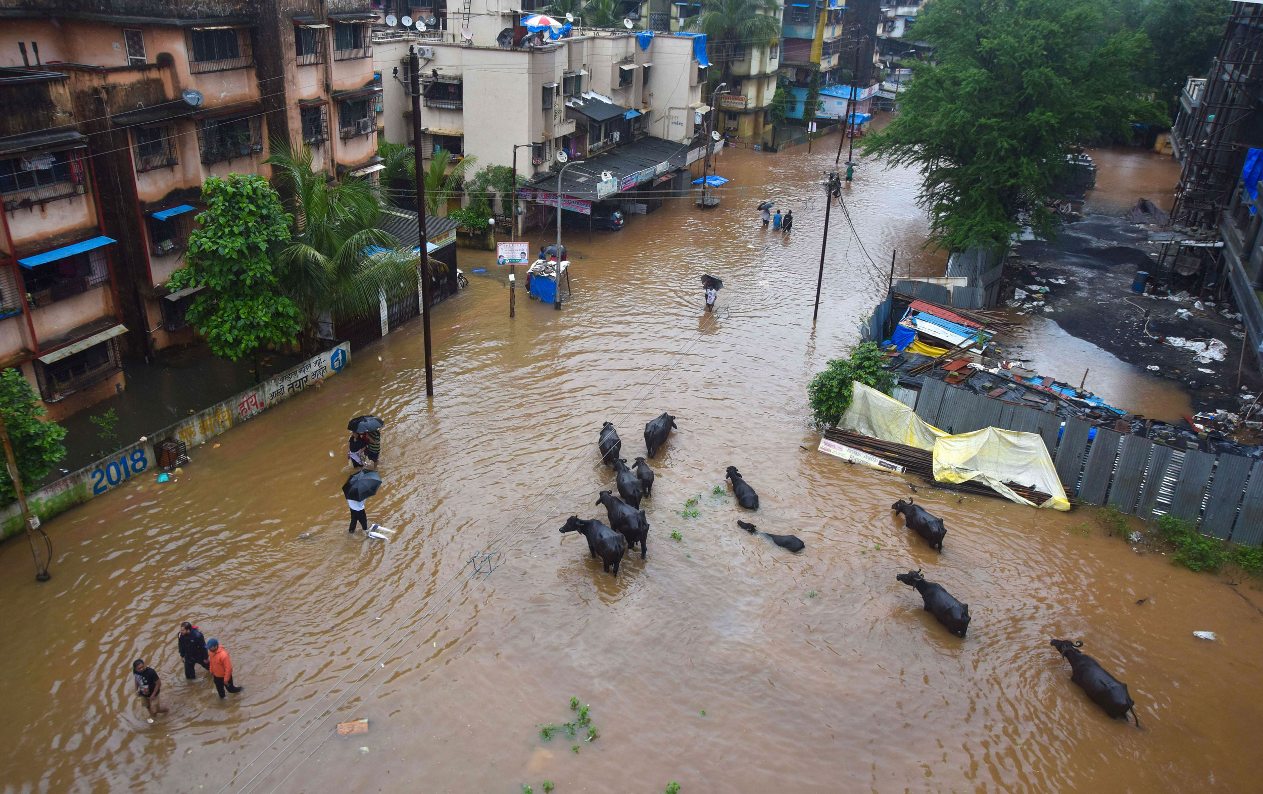 A flooded locality in Badlapur, Maharashtra, on August 4, 2019.