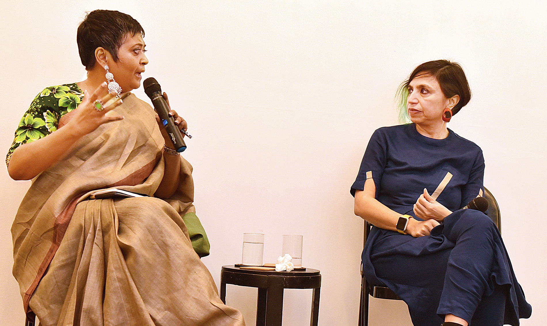 Shonali Bose (right) in conversation with Ratnaboli Ray at Experimenter