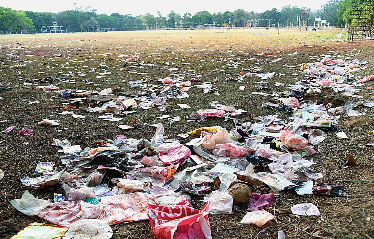 Some of the trash dumped at the festival venue.
