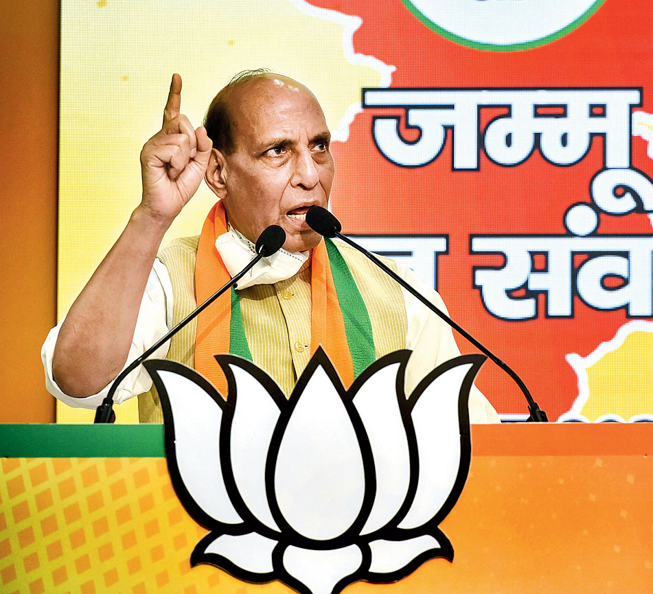 Union defence minister Rajnath Singh addresses the Jammu and Kashmir Jan-Samvad virtual rally at the BJP headquarters in New Delhi on Sunday.