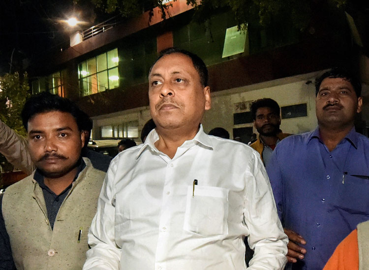 In Uttar Pradesh last week, MP Sharad Tripathi began hitting MLA Rakesh Singh Baghel (pictured here) with a shoe when he discovered his name was not on the plaque for the foundation stone of a bridge. Baghel retaliated by slapping the MP a number of times