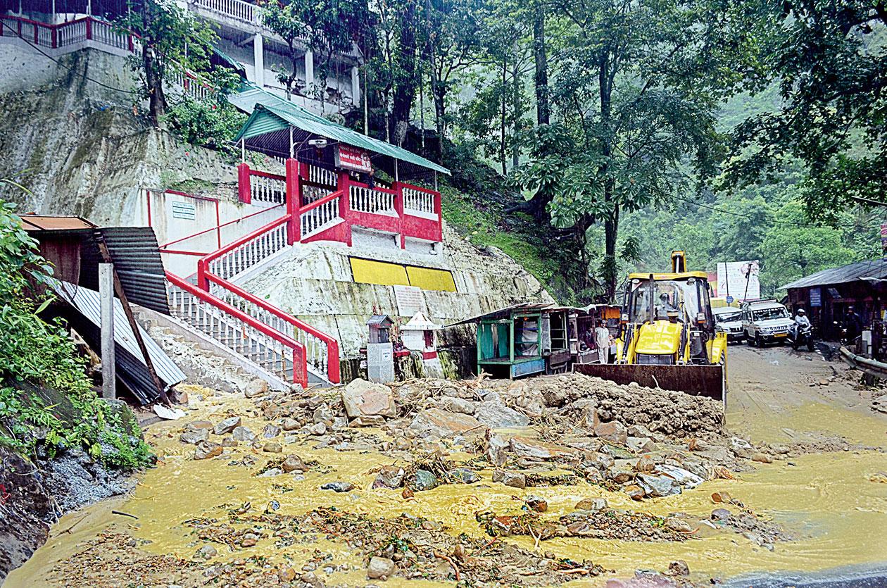 The landslide near the Kali temple in Sevoke on Thursday.
