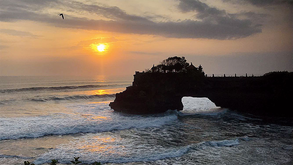 Bali's golden hour when the sky turned into a canvas of red, golden, orange and pink