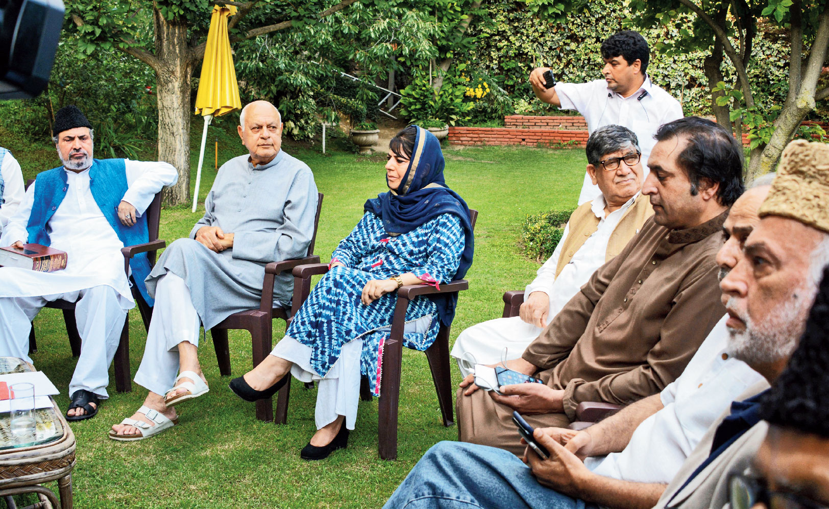 Farooq Abdullah (second from left) and Mehbooba Mufti with the other leaders at the all-party meeting in Srinagar on Sunday.