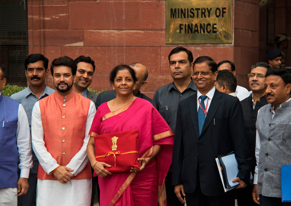 Nirmala Sitharaman and junior finance minister Anurag Thakur outside the finance ministry before proceeding towards Parliament to unveil the annual budget on Friday. In terms of fiscal discipline, the budget maintained a fiscal target of gross fiscal deficit of 3.3 per cent of GDP
