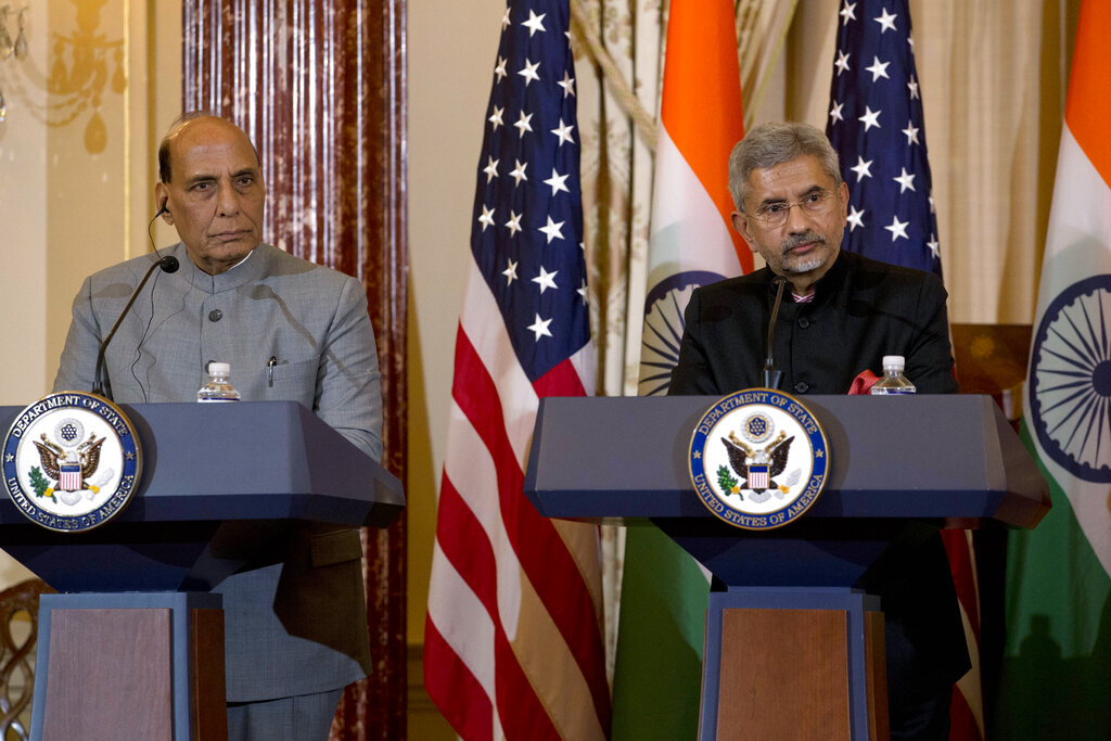 External affairs minister S. Jaishankar and defense minister Rajnath Singh speak during a news conference after a bilateral meeting the US and India at the department of state in Washington, Wednesday, December 18, 2019