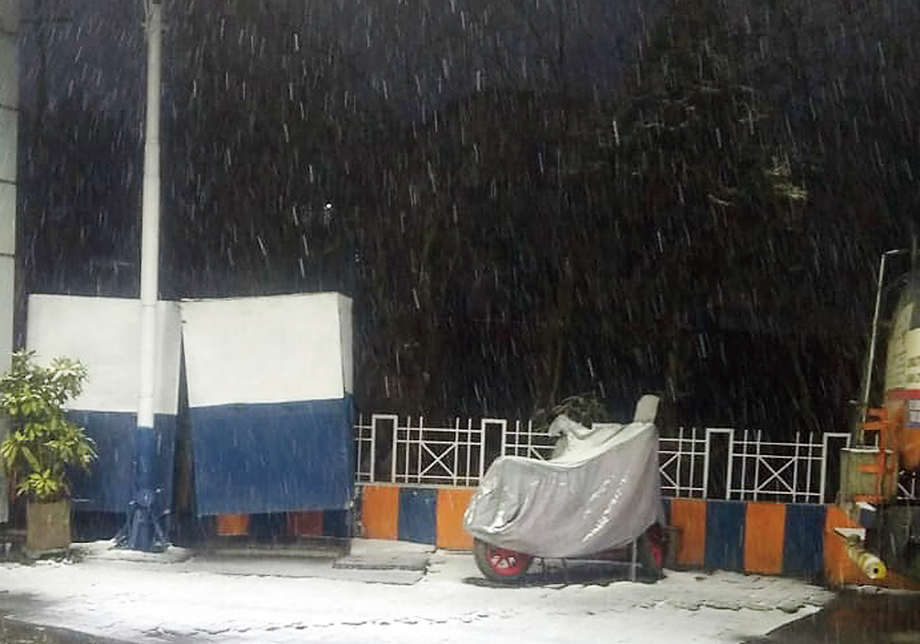 Snowfall at Ghoom, on the outskirts of Darjeeling, on Friday.