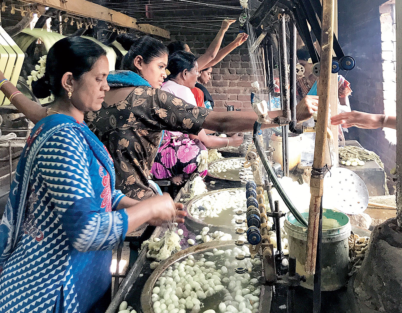 The family-run sericulture unit is mostly run by women with the matriarch giving way to her daughter-in-law Akhlima (left) in this fourth-generation family business