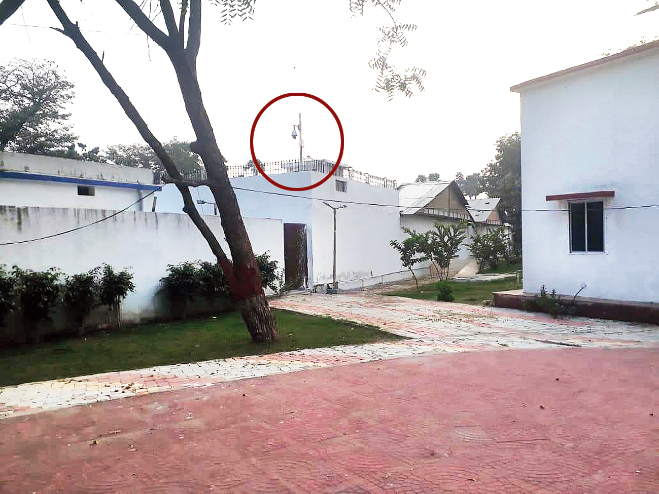 The new camera (encircled) at the chief minister's 1 Aney Marg  bungalow as viewed from Tejashwi Pratap's 5 Deshratna Marg bungalow.