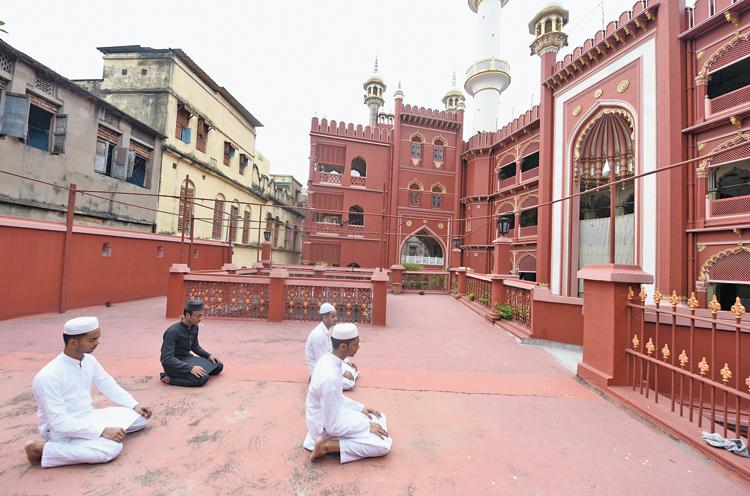 Id prayer at Nakhoda Masjid, in north Calcutta, on Monday morning.