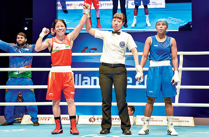 India's Mary Kom is declared winner after her bout with Colombia's Valencia Victoria, advancing to semi-finals at AIBA's Women's World Championship, in Ulan-Ude, Russia, Thursday, October 10, 2019. Kom defeated Victoria 5-0.