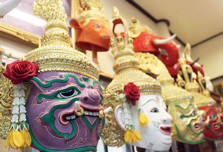 Khon masks on display at Bhutesvara