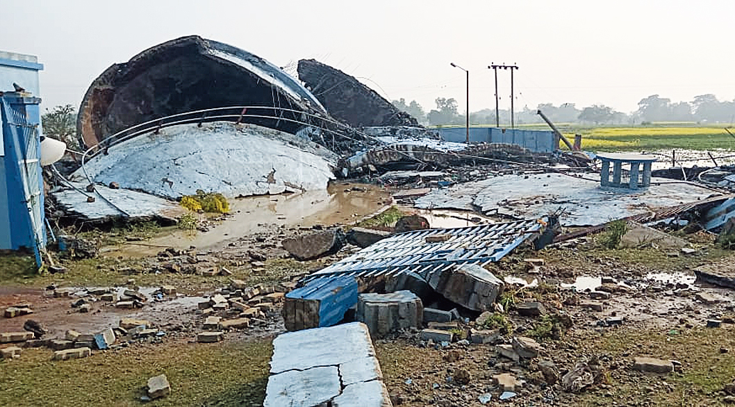 The collapsed water tank.