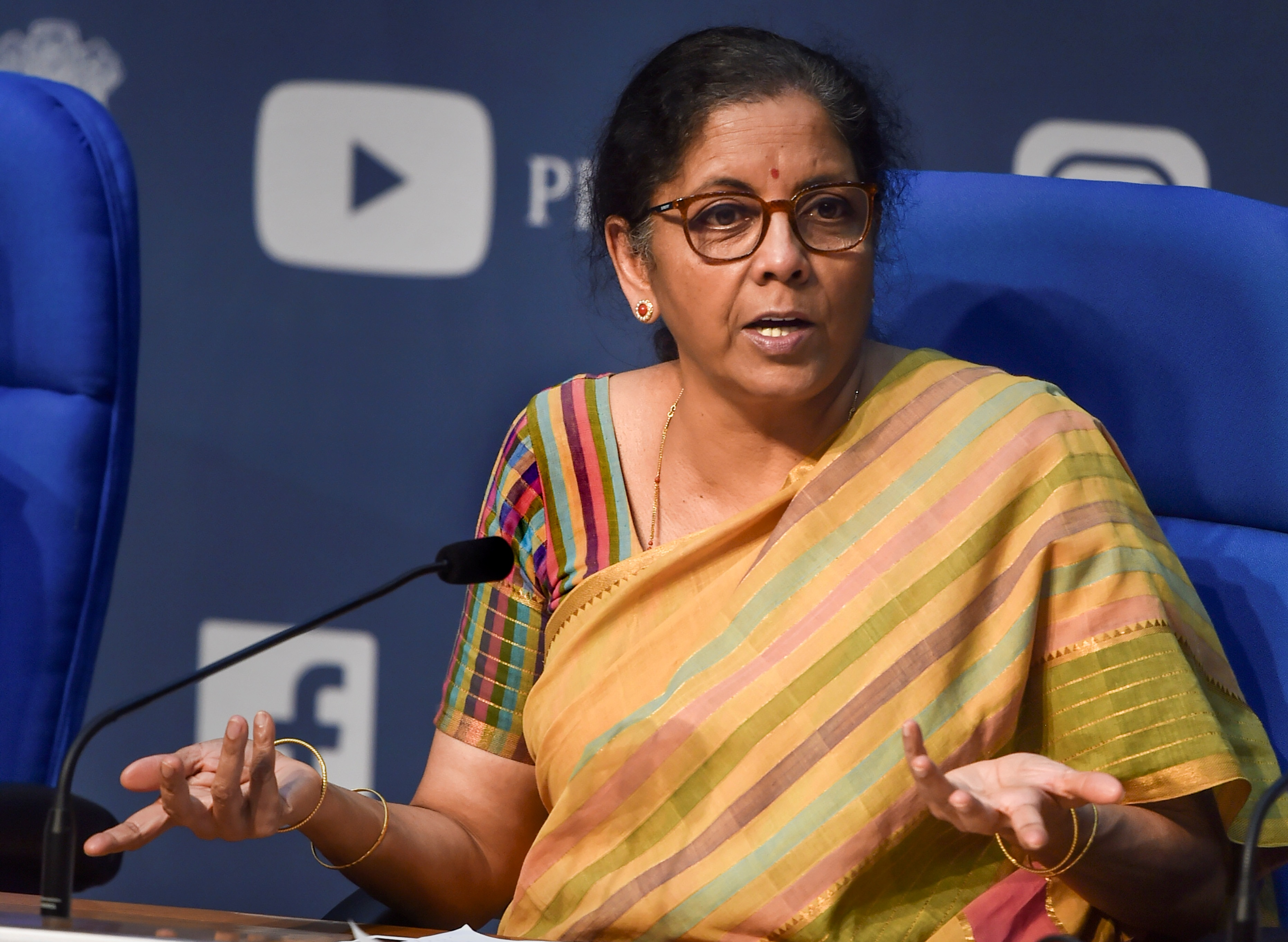 Union Finance Minister Nirmala Sitharaman addresses a press conference, at NMC in New Delhi, Thursday, May 14, 2020.