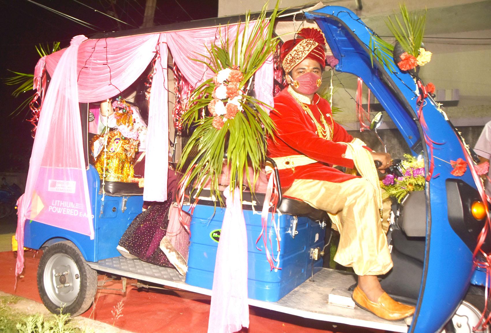 Abhishek Mishra rides the e-rickshaw in Dhanbad on Wednesday night