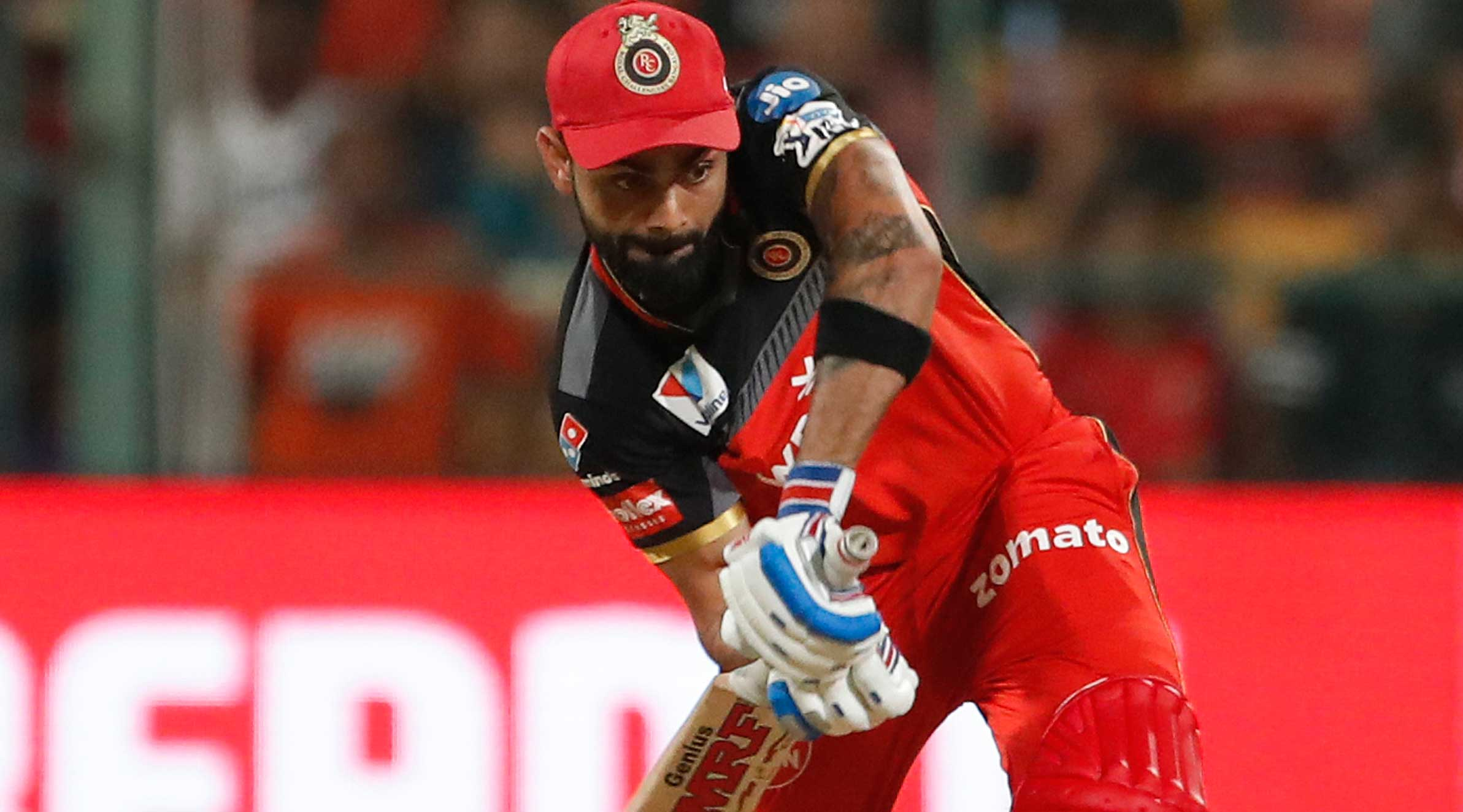 Royal Challengers Bangalore's captain Virat Kohli plays a shot during the IPL T20 cricket match between RCB and Mumbai Indians in Bangalore, on Thursday.