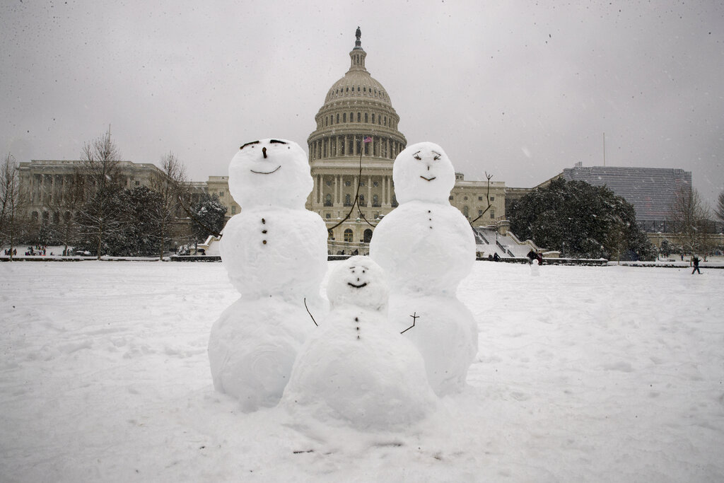 Oblivious of the shutdown, a snow family braves a smile on Washington's Capitol Hill as the winter storm arrives in the region on Sunday.