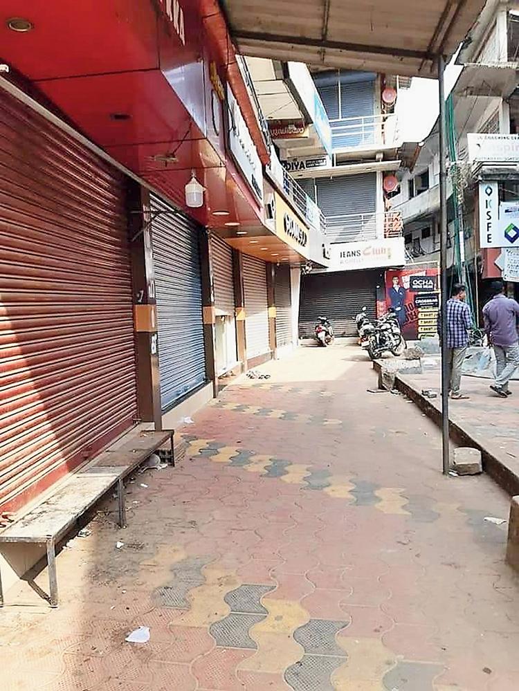 Closed shops in Kuttiyadi town in Kozhikode, Kerala