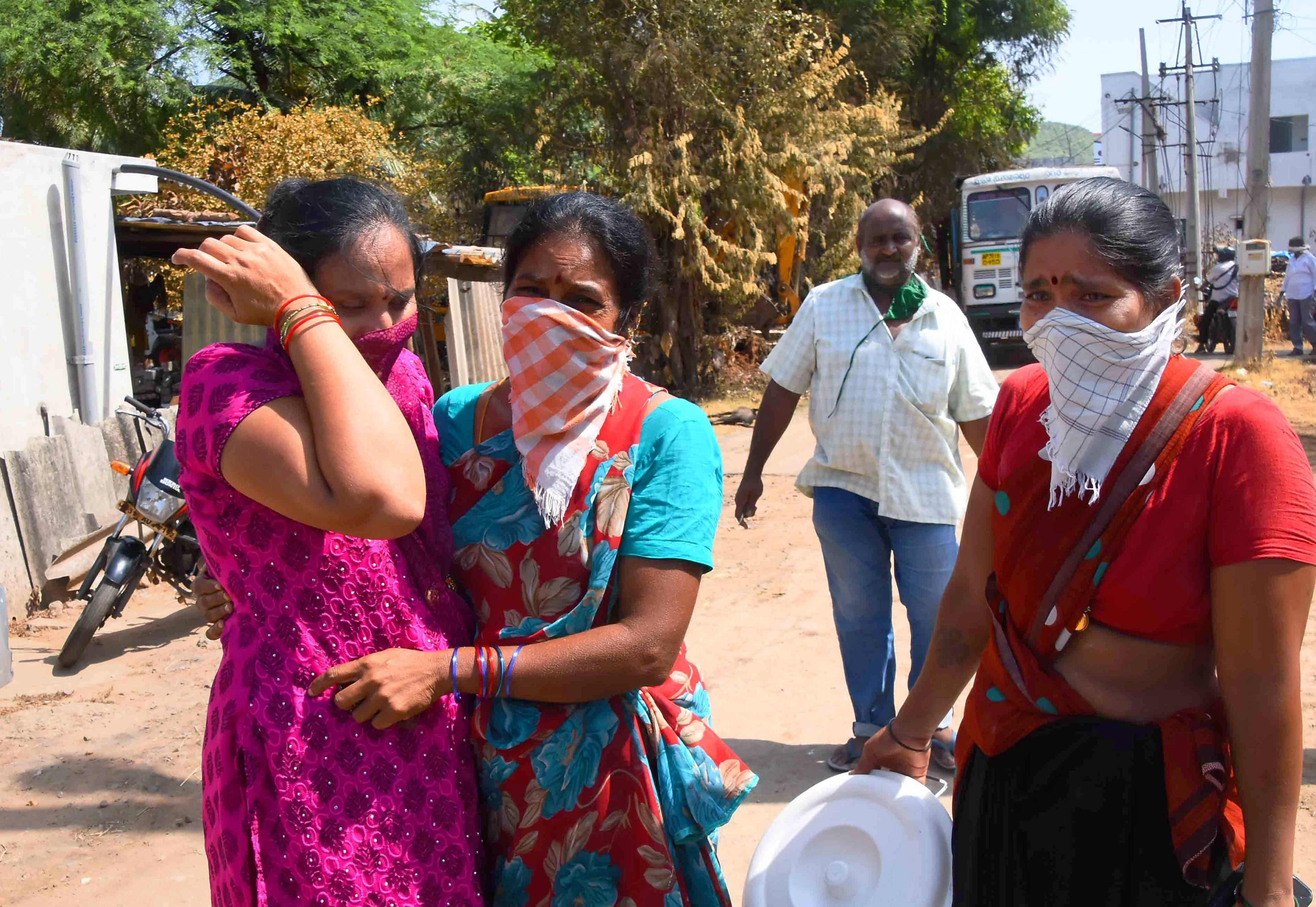 Residents return back to RR Venkatapuram village, a day after the major chemical gas leak incident at LG Polymers plant in Visakhapatnam on Friday, May 8, 2020.