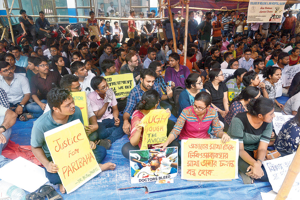 Junior doctors protest at NRS hospital on Wednesday