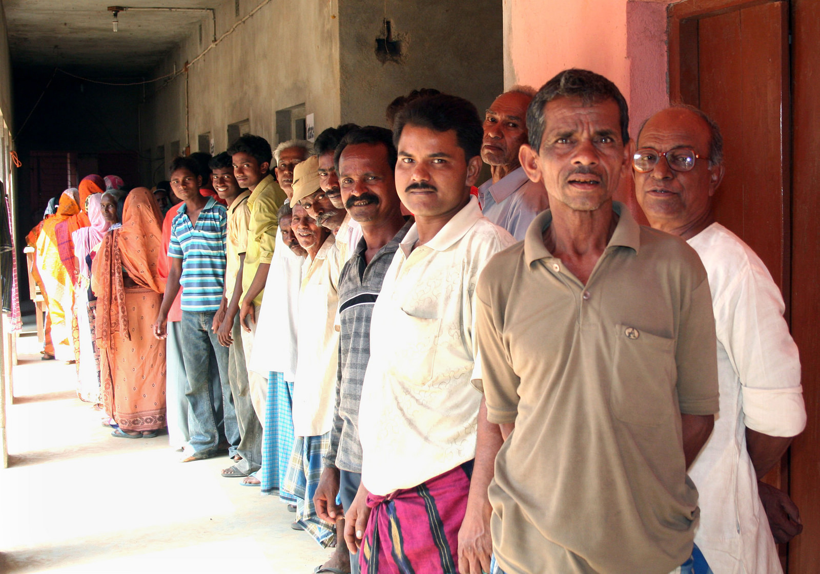 Voters at a polling booth