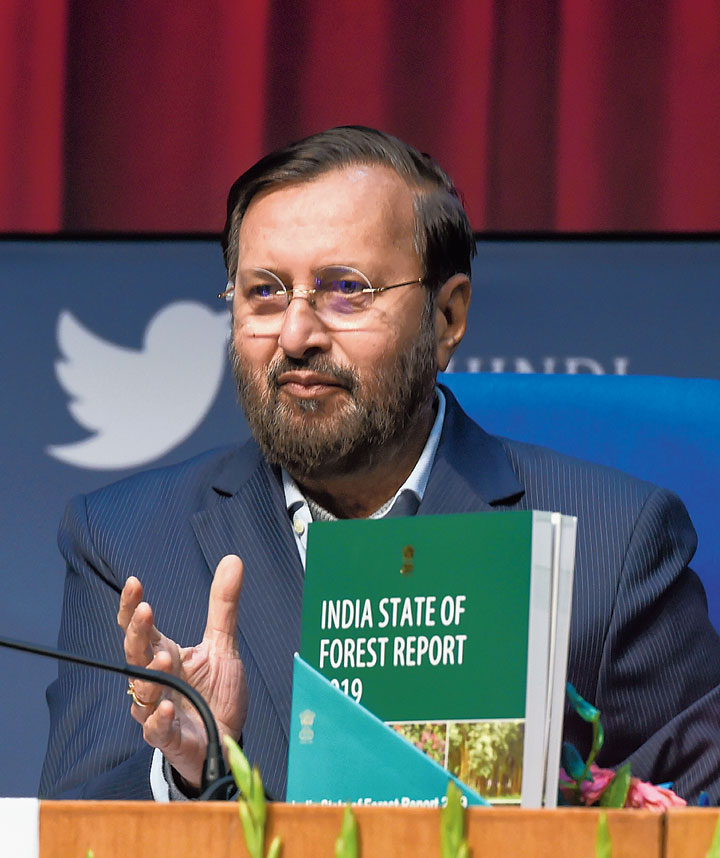 Union environment minister Prakash Javadekar releases the report in New Delhi on Monday.