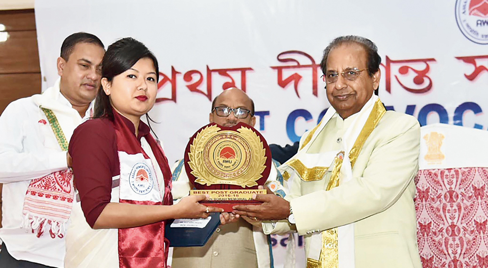 Assam governor Jagdish Mukhi at the convocation in Jorhat on Tuesday