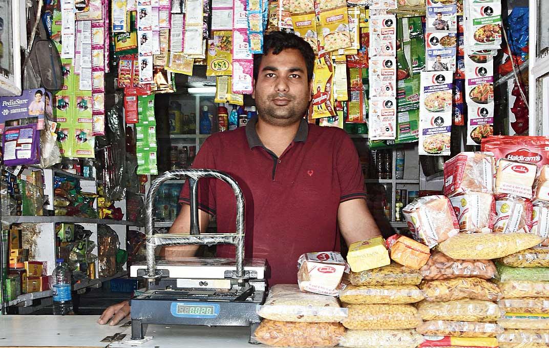 Vishal Kumar Bhadani at his shop in Bartand, Dhanbad on Thursday.