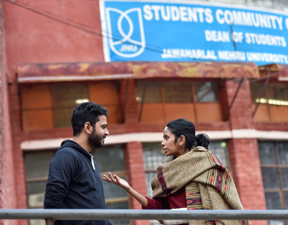 JNU students' union president Aishe Ghosh on the varsity campus in New Delhi on Monday