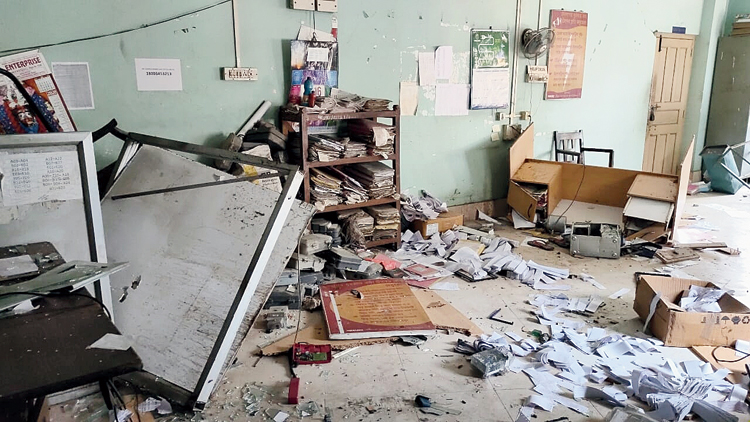 The vandalised customer care office of the WBSEDCL at Dignagar.