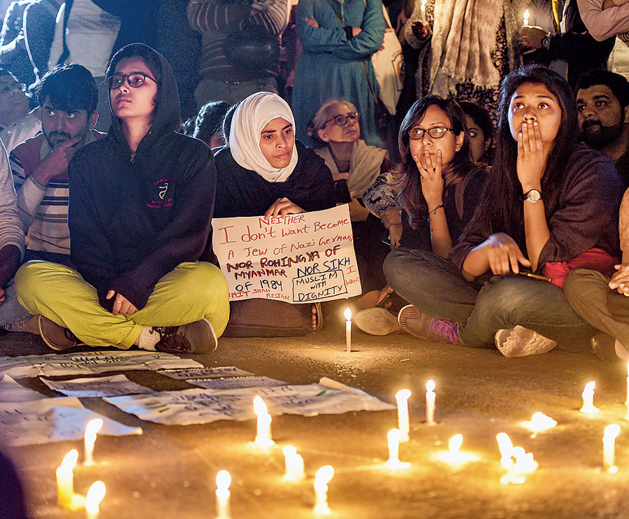 A candle-light vigil at India Gate on Tuesday urging peace to be restored.