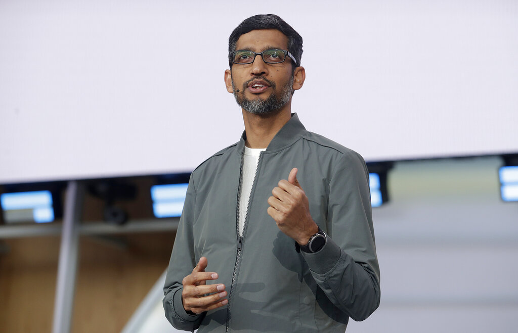 In this May 7, 2019, file photo, Google CEO Sundar Pichai speaks during the keynote address of the Google I/O conference in Mountain View, California.