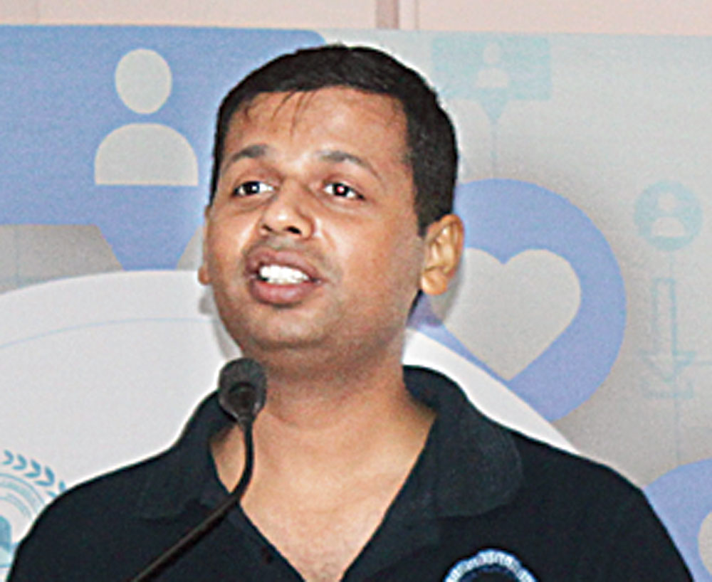 Digital vigil: Vineet Kumar at a cyber safety workshop at Hill Top School in Jamshedpur, in September