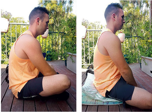 In the padmasana (lotus position), the knees tend to rise up (left), losing the neutral position of the spine; With a modification — raising the hips and keeping  knees lower than hips — the spine can maintain a neutral position (right)