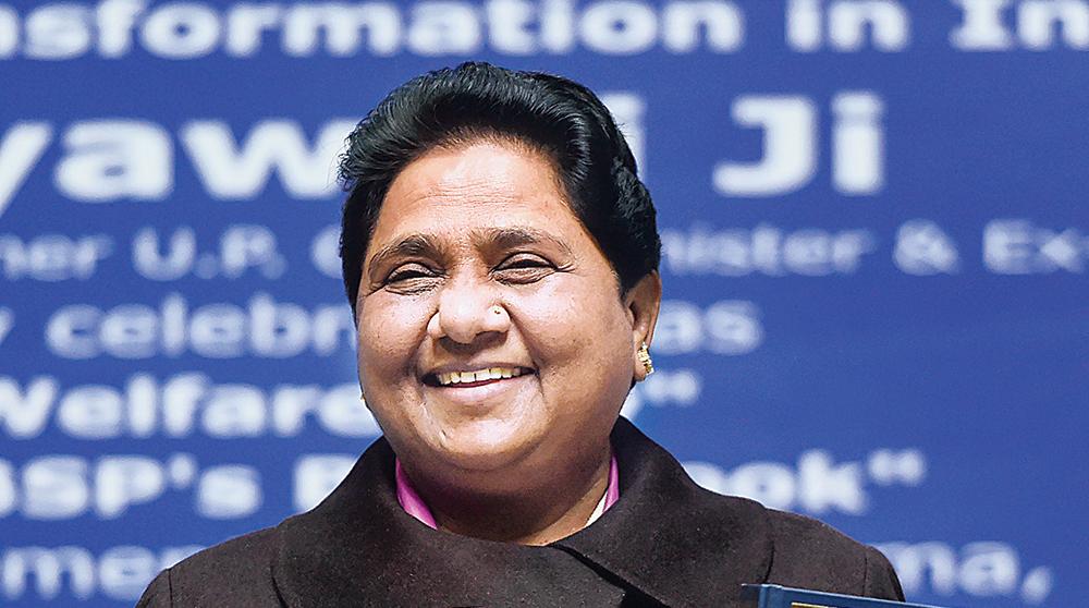 Mayawati at the news conference