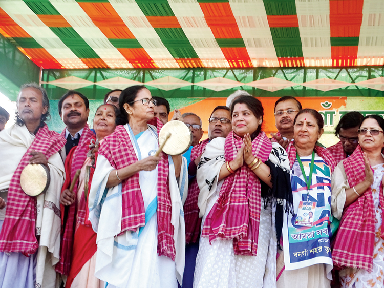 Mamata at the public meeting in Bongaon on Tuesday.