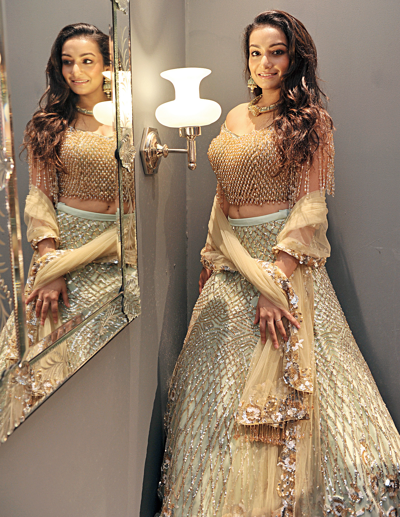 """Paris Cafe owner Sneha Singhi stepped into a Suneet Varma lehnga paired with jewellery from Birdhichand Ghanshyamdas and """"loved having all eyes"""" on her. """"It was out of a fairy tale. Suneet Varma is the sweetest. He was so kind, he helped me walk around in those high heels. And to my surprise, he put my picture as his Instagram story!"""" said the pretty girl."""
