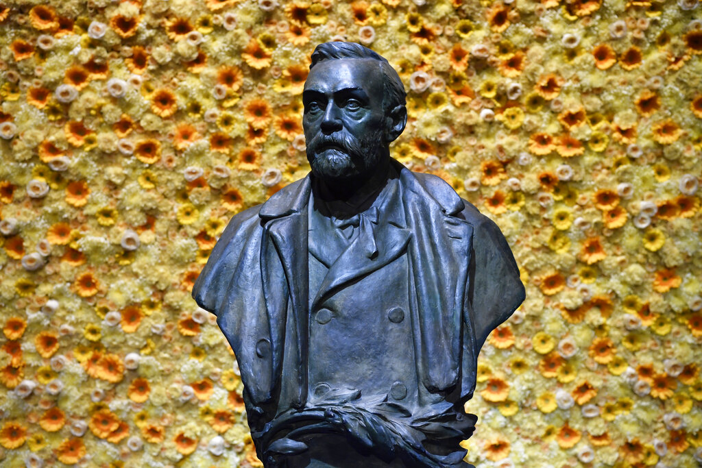 In this Monday, December 10, 2018 file photo, a bust of the Nobel Prize founder, Alfred Nobel is on display at the Concert Hall during the Nobel Prize award ceremony in Stockholm