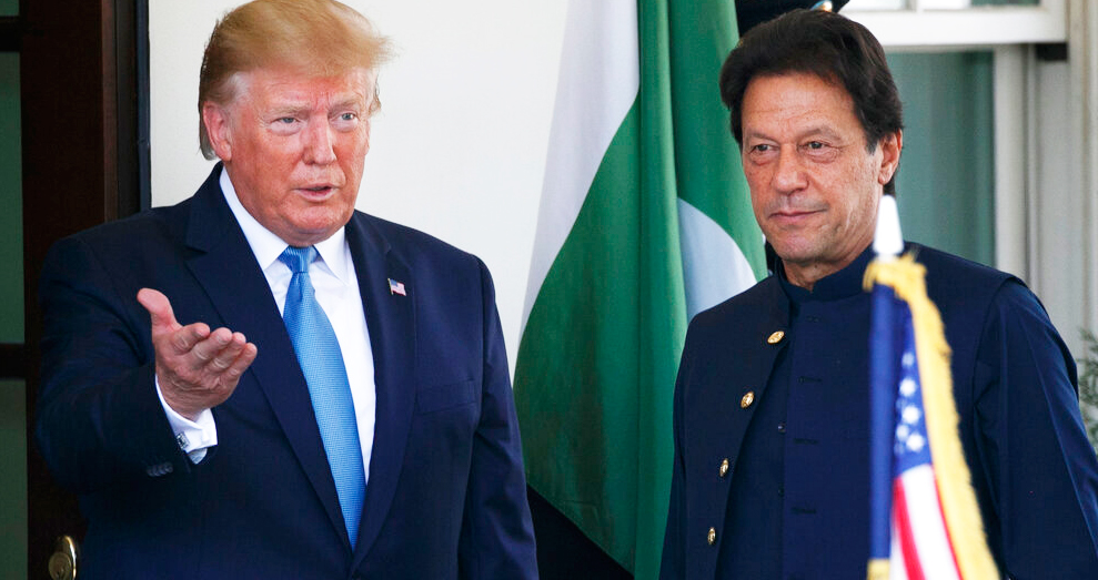 US President Donald Trump greets Pakistan Prime Minister Imran Khan as he arrives at the White House, Monday, July 22, 2019, in Washington.