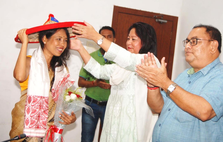 Filmmaker Rima Das being felicitated in Guwahati in July 2018