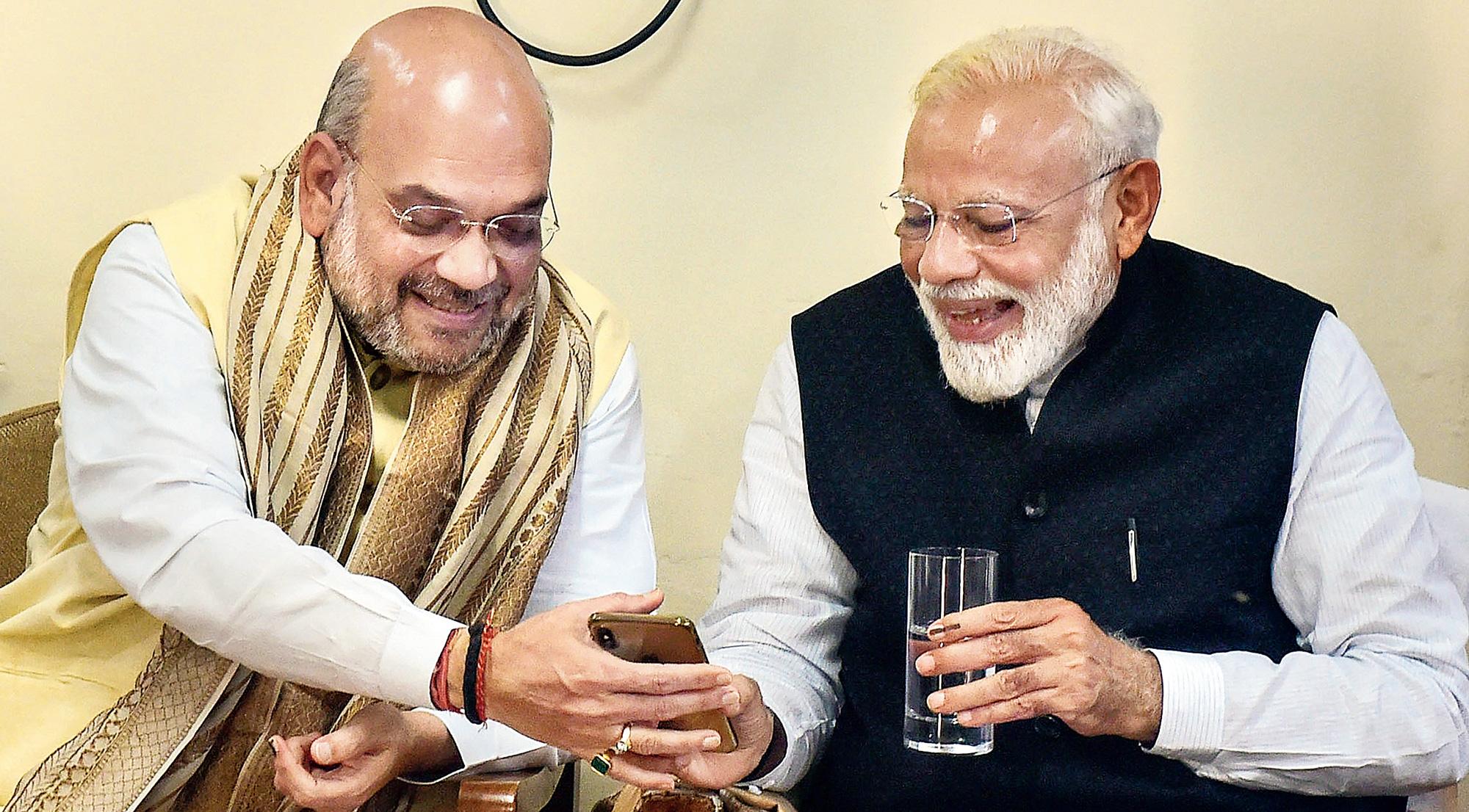 Amit Shah with Modi in Varanasi on Friday.