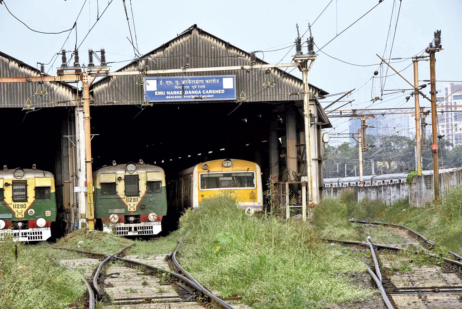 The Narkeldanga car shed where Trinankur Nag was electrocuted on Saturday.