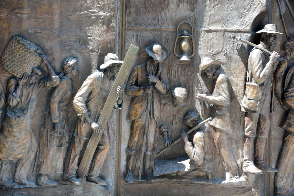Details of monument to the African-American history from the Middle Passage, to the fight for freedom in the Civil War by Ed Dwight of Colorado. Image used for representational purpose.