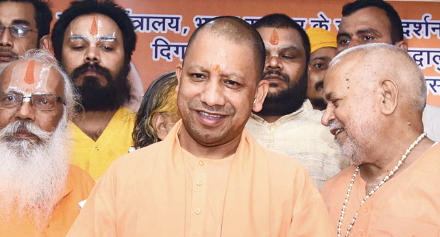 """Yogi Adityanath in Ayodhya. """"The apex court will start hearings and I'm sure the public sentiment will be respected. The spiritual importance of Ayodhya must be restored,"""" Adityanath, a staunch supporter of a Ram temple at the disputed site, said."""