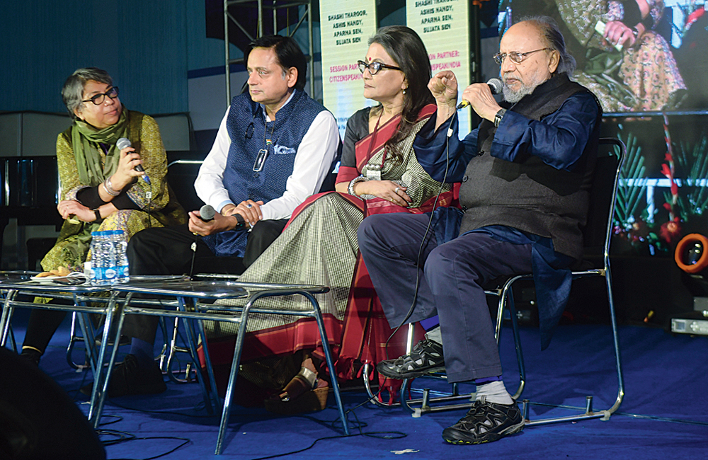 (From right) Ashis Nandy, Aparna Sen and Shashi Tharoor at the Kolkata Literature Festival on Saturday