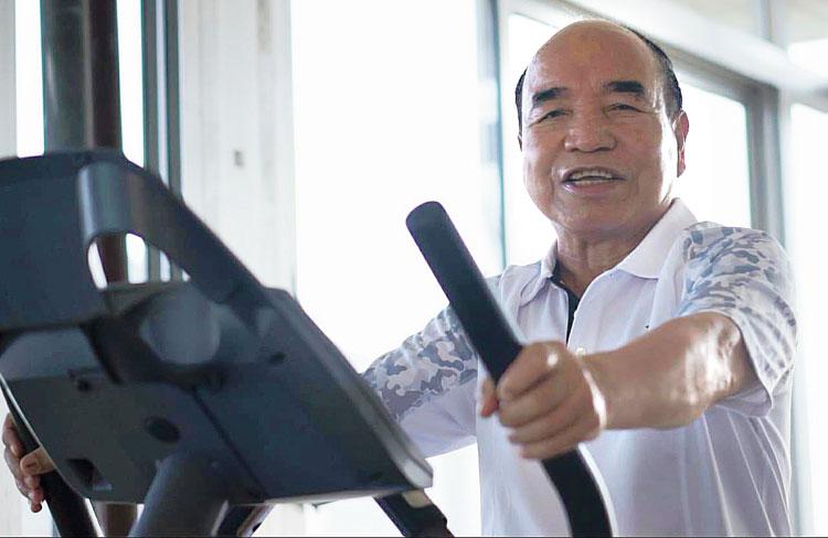 Zoramthanga exercises at his home.
