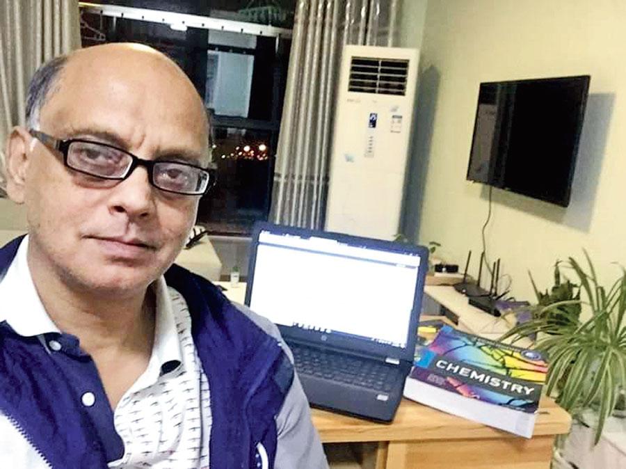 Satyajit Banerjee in his apartment in Wuxi